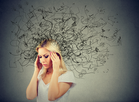 Photo for Thoughtful blonde woman with a mess in her head - Royalty Free Image