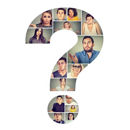 Foto de Collage in shape of question mark wit puzzled and confused men and women shrugging shoulders.  - Imagen libre de derechos