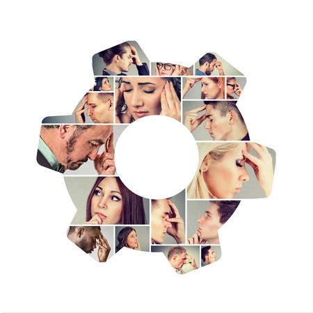 Foto de Composed photo of people looking pensive in collage.  - Imagen libre de derechos