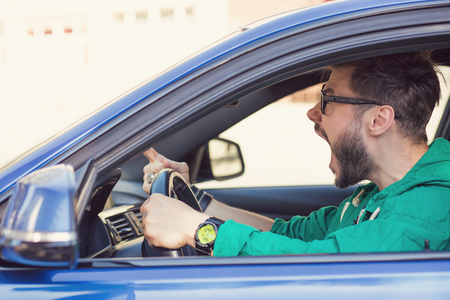 Photo for Side profile angry hipster man driver. Negative human emotions face expression  - Royalty Free Image