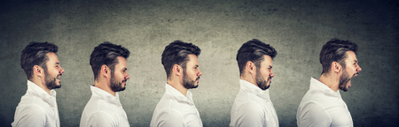 Foto de Side view of a man with different expressions and emotions from happiness to anger and stress on gray background - Imagen libre de derechos