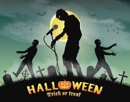 Ilustración de halloween zombie singing party in night graveyard - Imagen libre de derechos
