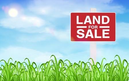 Ilustración de land sale sign on grass field with sky background - Imagen libre de derechos