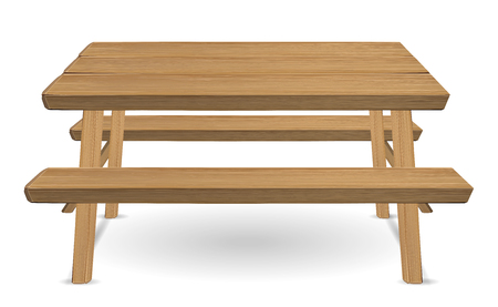 Ilustración de picnic wood table on a white background - Imagen libre de derechos