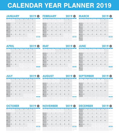 Illustration pour simple 2019 year planner calendar set of all month - image libre de droit