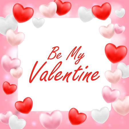 Ilustración de Be my valentine with pink red white heart. - Imagen libre de derechos