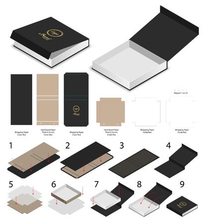 Illustration pour rigid magnet box template 3d mockup with dieline - image libre de droit