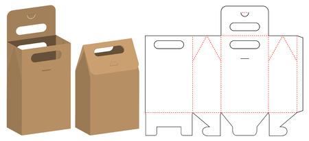Illustration pour Paper Bag packaging die cut template design. 3d mock-up - image libre de droit