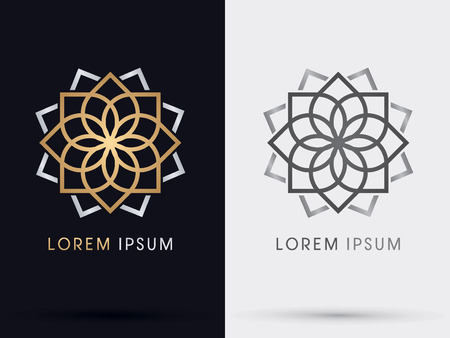 Photo for Gold abstract lotus symbol icon graphic vector. - Royalty Free Image