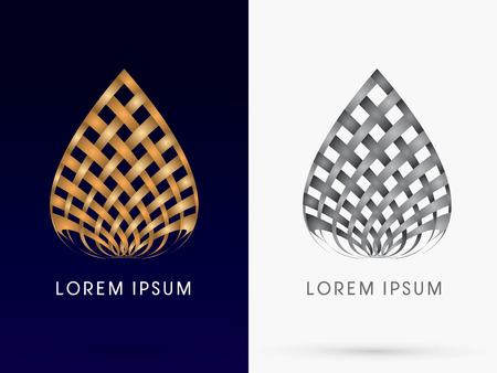 Ilustración de Abstract architecture Building lotus designed using wicker gold and black linelogo symbol icon graphic vector. - Imagen libre de derechos