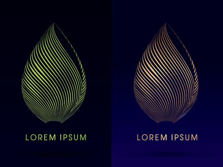 Ilustración de Luxury Lotus, Abstract Architecture, Construction, Leaf shape ,designed using green and gold line,logo, symbol, icon, graphic, vector. - Imagen libre de derechos