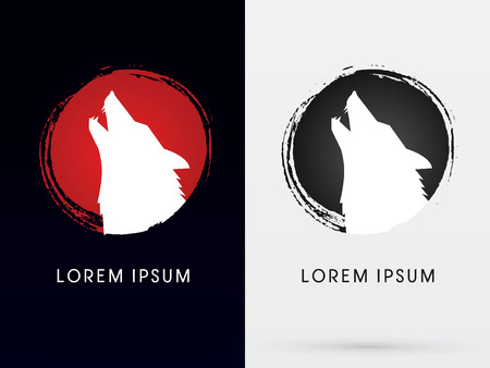 Illustration for Silhouette  Head Howling wolf,Designed using grunge brush, sign ,logo, symbol, icon, graphic, vector. - Royalty Free Image