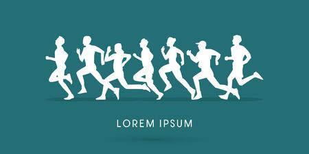 Ilustración de Silhouette, Running , Marathon, graphic, vector. - Imagen libre de derechos