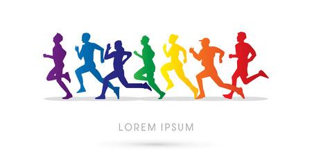 Ilustración de Running , Marathon, designed using rainbow colors, graphic, vector. - Imagen libre de derechos