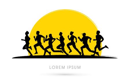Ilustración de Running , Marathon, on sunset background, graphic, vector. - Imagen libre de derechos
