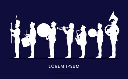 Ilustración de Silhouette Marching Band, parade, graphic vector. - Imagen libre de derechos