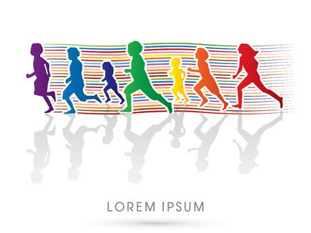 Illustration pour Silhouette, Kids running, Designed using colorful line - image libre de droit