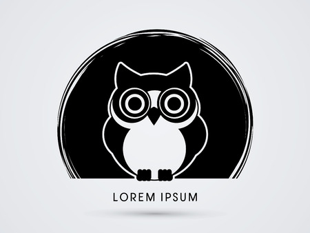 Owl, designed on black circle background graphic vector.