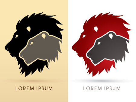 Illustration for Head Lion and Lioness graphic vector. - Royalty Free Image