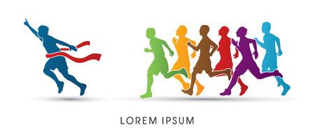 Ilustración de Group or runners,  the winner designed using colorful graphic vector. - Imagen libre de derechos