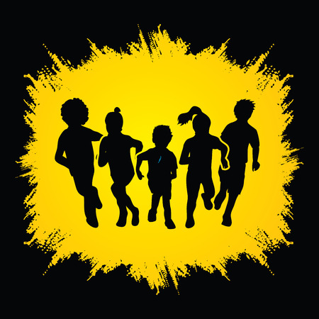 Illustration for Group of children running , Front view designed on grunge frame background graphic vector. - Royalty Free Image