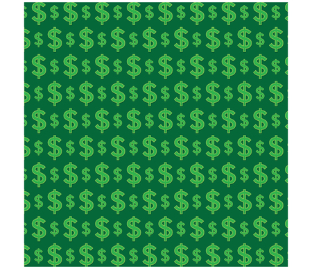Illustration pour Money pattern on green background graphic vector - image libre de droit