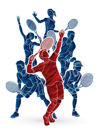 Ilustración de Tennis players , Men and Women action designed using grunge brush graphic vector. - Imagen libre de derechos