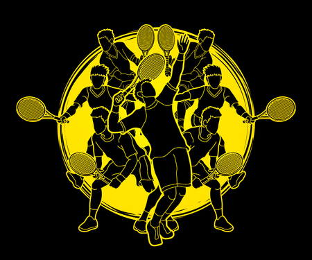 Tennis players , Men action designed on moonlight background graphic vector.