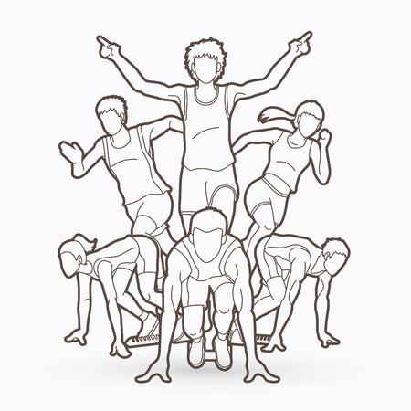 Illustration pour People running marathon running. - image libre de droit
