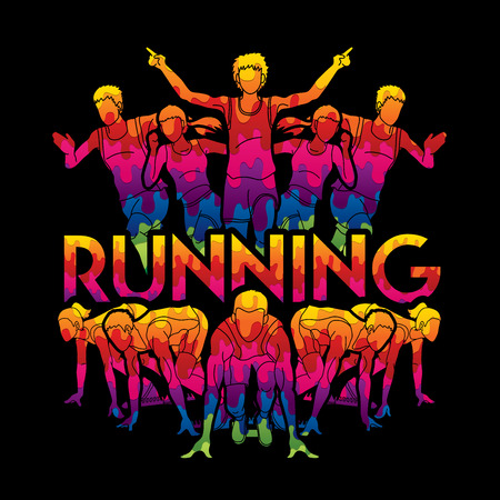 People run, Runner ,Marathon running, Team work running, Group of people running with text running graphic vector.