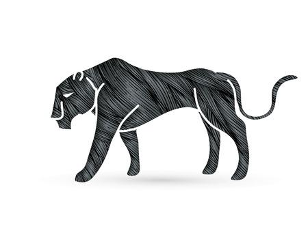 Ilustración de Black Panther tiger graphic vector. - Imagen libre de derechos