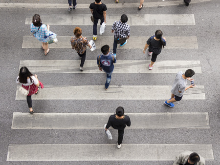 Photo for top view scene pedestrian crowded crossing on zebra way - Royalty Free Image
