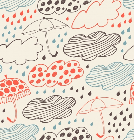 Rainy seamless decorative background  Ornate pattern with clouds, umbrellas and drops of rain  Cartoon stylish texture with many cute details