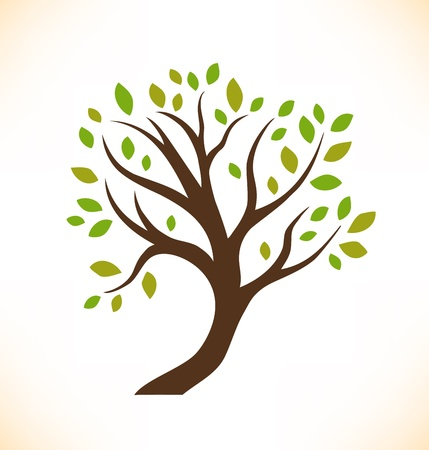Vector isolated tree  Decorative stylized plant  Image of crown tree