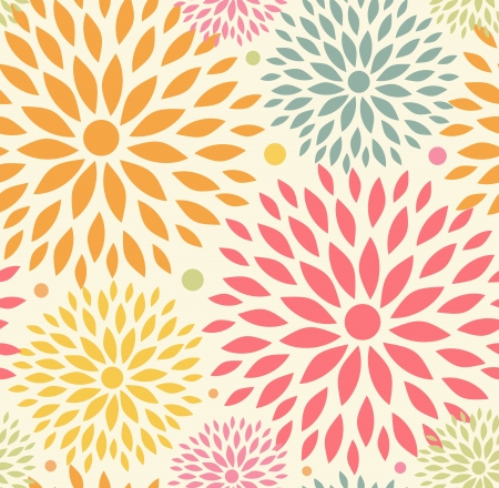 Illustration pour 	Decorative cute background with round flowers - image libre de droit