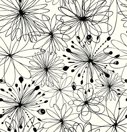 Illustration for Black drawn background with round fantasy shapes, flowers. Vector abstract pattern, decorative linear texture - Royalty Free Image