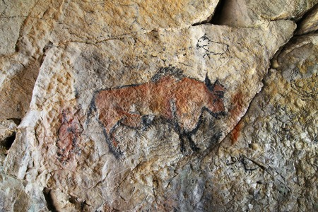 Photo pour Cave painting in prehistoric style - detail - image libre de droit