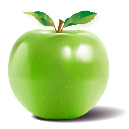 Green apple with two leaves and a reflection on the skin shiny