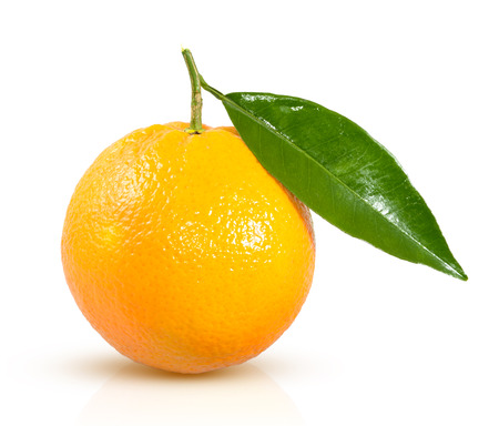 Photo for ripe orange with a green leaf on a white background - Royalty Free Image