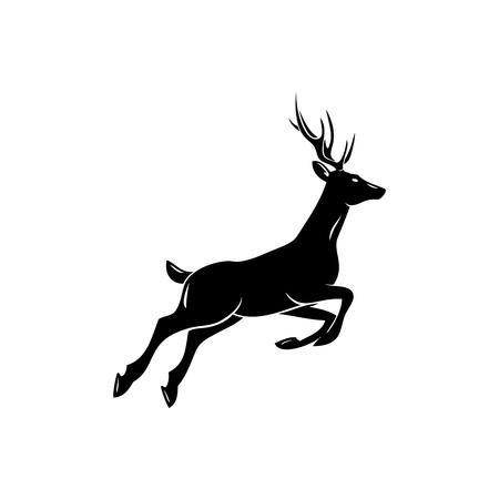 Ilustración de Deer; animal symbol, lemblem or sticker for branding, printing, sports team. Vector illustration. - Imagen libre de derechos