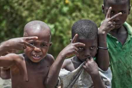 Foto de MALANJE/ANGOLA - 10 MAR 2018 - Portrait of African boys in the province of Malanje Angola. - Imagen libre de derechos