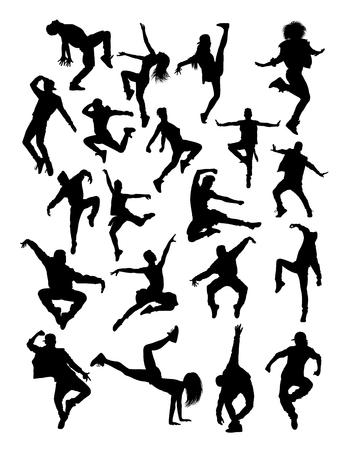 Ilustración de Dancer pose silhouette.  Good use for symbol, logo, web icon, mascot, sign, or any design you want. - Imagen libre de derechos