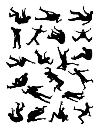 Illustrazione per Fall down silhouette in black and white. - Immagini Royalty Free