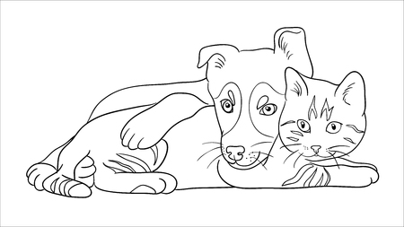 Illustrazione per Cat and dog line art in white background. - Immagini Royalty Free
