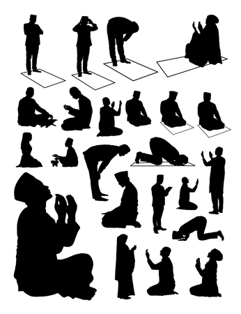 Illustration for Silhouette of Muslim praying. Good use for symbol, icon, web icon, mascot, sign, or any design you want. - Royalty Free Image