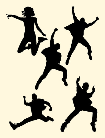 Illustration for People jumping silhouette 03. Good use for symbol, logo, web icon, mascot, sign, or any design you want. - Royalty Free Image