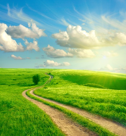 Photo pour Summer landscape with green grass, road and clouds  - image libre de droit
