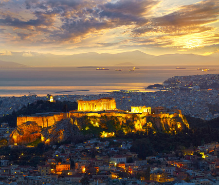 Photo for Athens, Greece. After sunset. Parthenon and Herodium construction in Acropolis Hill - Royalty Free Image