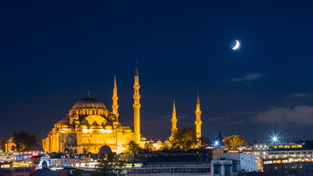 Photo for famous Suleymaniye mosque in Istanbul at night - Royalty Free Image