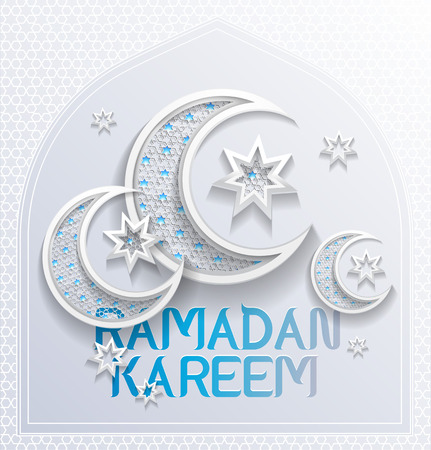 Illustration for ramadan background greeting card - platinum and blue colors - illustration - Royalty Free Image